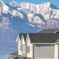 Square frame Majestic snow capped mountains above Utah Valley