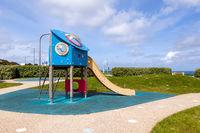 Colorful children playground area near seaside