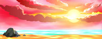 Seascape sun beach sunset