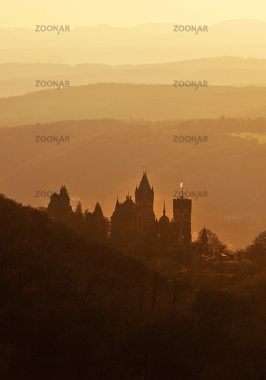 Drachenburg Castle at sunrise, Siebengebirge, Koenigswinter, North Rhine-Westphalia, Germany, Europe
