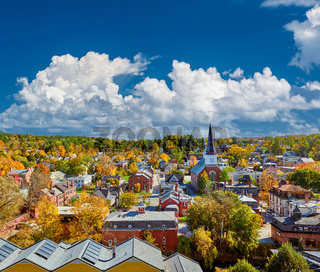 Montpelier town skyline in autumn, Vermont, USA