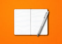 Orange open notebook with a pen isolated on colorful background