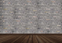 brick wall stones wall gray wooden floor background modern