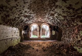 Abandoned Military Tarakaniv Fort basements (other names - Dubno Fort, New Dubna Fortress) - a defensive structure, an architectural monument of 19th century, Tarakaniv, Rivne region, Ukraine.