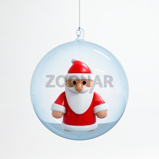 Santa Claus inside a Christmas ball