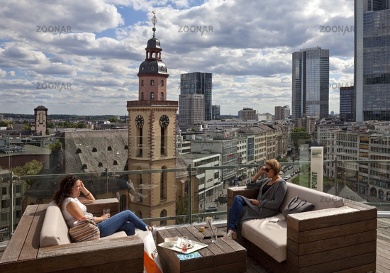 Roof terrace Galleria Kaufhof with a view to the financial district, Frankfurt, Germany, Europe