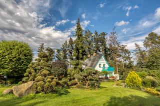 Beautiful house in summer garden