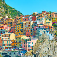 Houses on different colors in Manarola