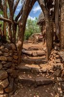 stairs to house in fantastic alled village tribes Konso, Ethiopia
