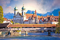 Luzern wooden river Bridge and church view