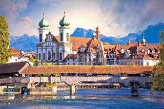 Luzern wooden river Bridge and church view