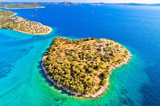 Small island in archipelago of Croatia aerial view