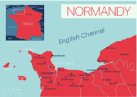 Normandy of France detailed editable map
