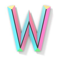 Neon color bright font Letter W 3D