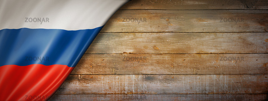 Russian flag on vintage wood wall banner