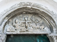 Tympanum from 12th century carved in standstone at  the church of Linderod, Swede