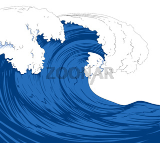 Illustration of a sea with giant waves