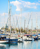 Larnaca marina, yachts, cityscape, Cyprus