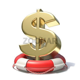 Golden dollar sign in lifebuoy 3D