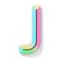 Neon color bright font Letter J 3D
