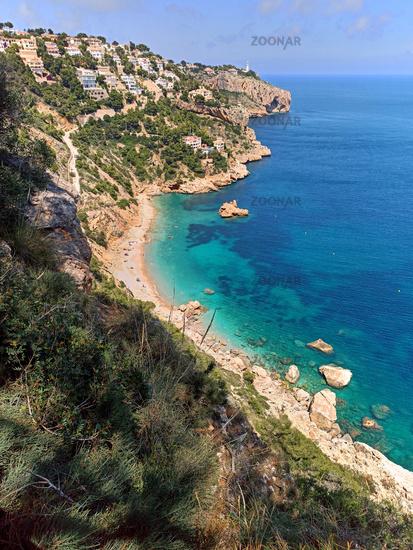Aerial view Mediterranean Sea and beach of Costa Blanca. Spain