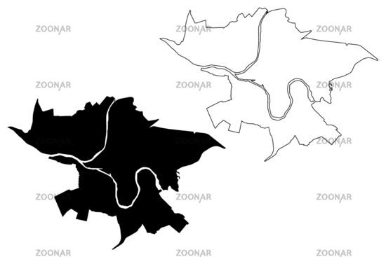 Kaunas City (Republic of Lithuania) map vector illustration, scribble sketch City of Kaunas map