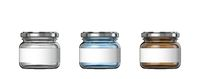 White, blue and brown big glass jars white label 3D