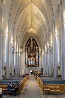 Interior View of the Hallgrimskirkja Church in Reykjavik