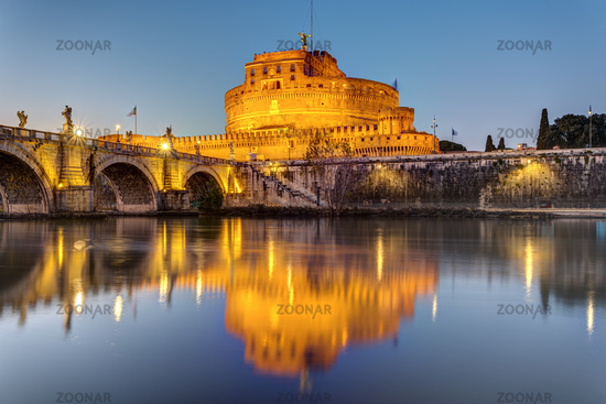 The Castel Sant Angelo in Rome at sunset