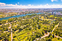 Vienna. Green landscape of Donaupark and aerial view of Vienna suburbs