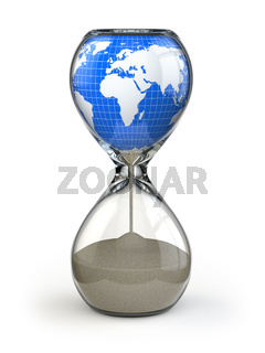 Earth in hourglass. Conceptual image destruction of the world.