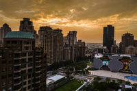 cityscape of Taichung city with skyscrapers