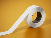 White electrical tape isolated on yellow background. 3D illustration