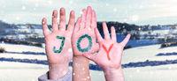 Children Hands Building Word Joy, Winter Scenery