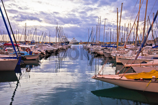 French riviera. Port Vauban harbor in Antibes colorful dusk view