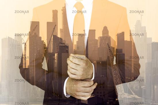 Corporate business, entrepreneurship and economic prosperity conceptul collage.