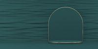 Mock up podium for product presentation golden frames pedestal 3D