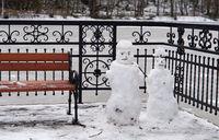 winter, two snowmen, Park, bench, snow