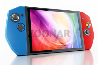 Portable video game console isolated on white background. 3D illustration