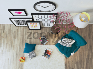 Black picture frames with blue bergere to view decor idea 3D rendering