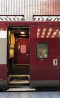 Antwerp, Belgium, September 2019, Open door on a Thalys train