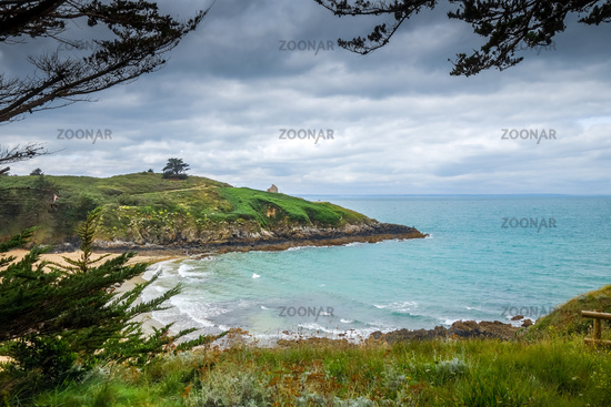 Cove and beach landscape in Brittany, France