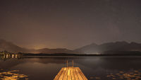 milky way stars on sky over lake in Bavaria