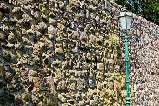 Bernau near Berlin, Germany - 04/30/2019 - historic city wall with lantern