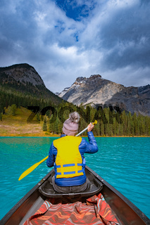 Emerald Lake,Yoho National Park in Canada, Emerald Lake and Tea House, Near Field, British Columbia, Yoho National Park, Canada Mount Burgess can be seen reflected into the water
