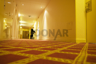 Businessman checking into hotel room