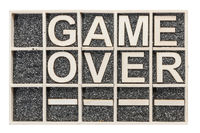 Wooden letters game over empty fields