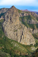 Lava cone of an old volcano - The striking Roque de Agando on the island of La Gomera