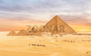 The Menkaure Pyramid complex, Giza desert, Cairo, Egypt