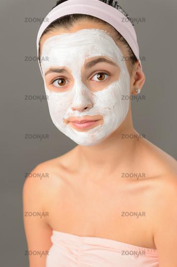 Sad teenage girl face mask skin beauty